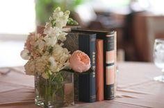 book centerpiece with bud vase.