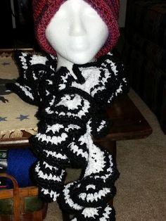 Black and White crochet ruffle scarf
