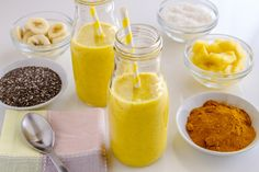 Pineapple Turmeric and Chia Seed Cleansing Smoothie:  1 cup frozen pineapple half banana*optional, omit for lower sugar 1/2 tsp. turmeric powder or small pinky sized fresh root 1 tbsp. chia seeds 1 tbsp. coconut 1 lime, peeled 1 cup water or coconut water