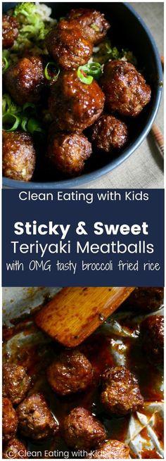 Sticky Teriyaki Meatballs with Broccoli Fried Rice Sweet amp; Sticky Teriyaki Meatballs piled on top of a really yummy broccoli fried rice. Sticky Teriyaki Meatballs piled on top of a really yummy broccoli fried rice. Meatball Recipes, Meat Recipes, Asian Recipes, Dinner Recipes, Cooking Recipes, Healthy Recipes, Recipies, Meatball Meals, Minced Beef Recipes