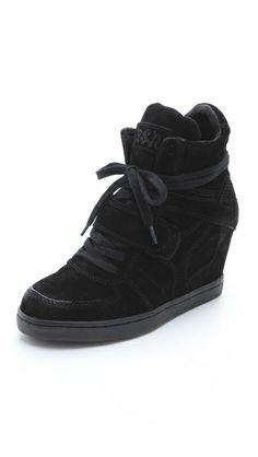 Ash | Cool Suede Wedge Sneakers in black