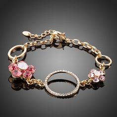 Gold Plated Stellux Austrian Crystal Flower Charm Bracelet #bracelets