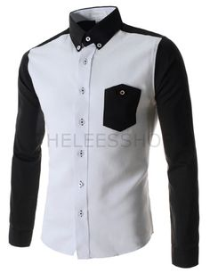 (AL549-BLACK) Mens Slim Two-Tone Button Down Pocket Point Long Sleeve Cotton Shirts