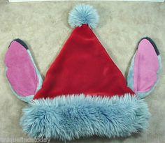RARE Plush Disney Red/Blue Lilo & Stitch Santa Ears Hat Disney World Adult Sz