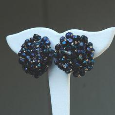 Vintage Sandor Navy Blue Beaded Earrings by LynnsBeadsNThings, $16.00