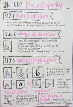 Looking for a way to spice up your Bullet Journal? Learn everything about bullet journal fonts and how to improve your hand writing. Faux Calligraphy Alphabet, How To Do Calligraphy, Calligraphy Worksheet, Hand Lettering Alphabet, Calligraphy Handwriting, Brush Lettering, Modern Calligraphy, Calligraphy Kit, Letter Fonts