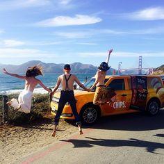 #bareyourself to the world. #ToplessTour #jump #awesome #fun #happyhour #nudebeach #bakerbeach #goldengatebridge #sf #sunset #love #free #beach #friday @toplesstour