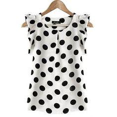 Cotton Blouses New 2017 Summer Women Kawaii Polka Dot Printing Short Sleeve Shirt Tops Plus Size Blusas Shirts Haut Femme Blouse Chiffon Shirt, Chiffon Tops, Chiffon Blouses, White Chiffon, Sleeveless Blouse, Ruffle Blouse, Print Chiffon, Ruffled Shirt, White Silk