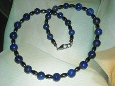 Lapis Lazuli Hematite Necklace Mens Lapis Necklace Black Blue Necklace Unisex  #Handmade #Beaded