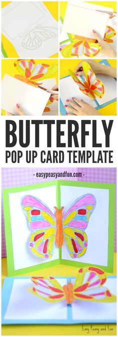 Cute Butterfly Pop Up Card Template for Kids to Make
