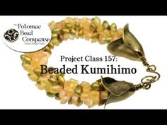▶ Project 157 - Beaded Kumihimo Braiding - Potomac Bead Company  8 strings,25 long magutama beads on each string, C-lon or S-lon string