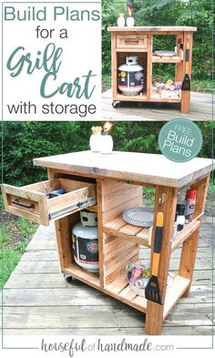 Outdoor Bar Cart, Diy Outdoor Table, Outdoor Bars, Outdoor Rooms, Outdoor Living, Diy Furniture Plans Wood Projects, Woodworking Projects Diy, Table Bbq, Grill Cart
