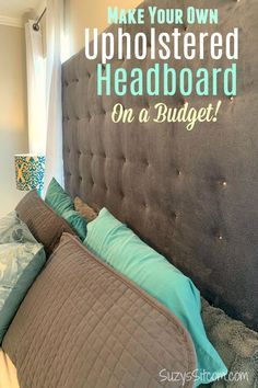 Learn how to make a fabric headboard for an elegant, elevated style to your bedroom design. Plus this beautiful, tufted DIY headboard is budget friendly! The instructions for this king sized upholster King Size Upholstered Headboard, Diy Fabric Headboard, Quilted Headboard, How To Make Headboard, Queen Size Headboard, Diy Headboards, Headboard Ideas, King Size Bedding, Do It Yourself Headboards