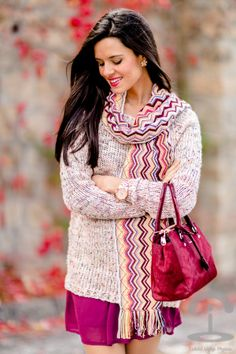 burgundy dress + pink sweater - Karen Millen bag -  Michael Kors Watch - Mango heels - zig zag Missoni scarf