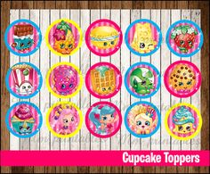 80% OFF SALE Shopkins Cupcakes Toppers instant by mrkitspartyshop