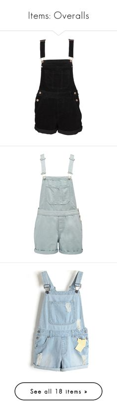 """Items: Overalls"" by honeythismirrorisntbigenough on Polyvore featuring jumpsuits, rompers, shorts, dresses, overalls, bottoms, women, corduroy overalls, playsuit romper and bib overalls"