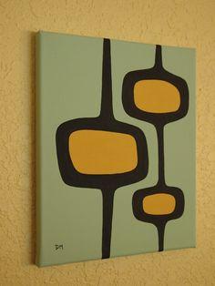 Mid Century Modern Painting, 8 X 10 Original Acrylic