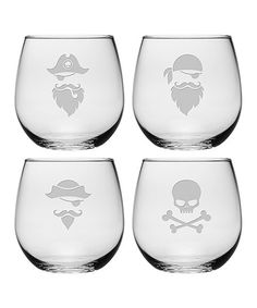 Another great find on #zulily! Pirate Faces Stemless Wine Glass - Set of 4 #zulilyfinds