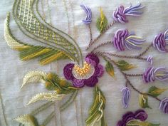Brazilian Embroidery in Purples Greens - love the bullions worked on the leaves. BE