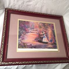 Inspirational Water Color Print The Artist SIgned By LInda Schafer Angel Oversee #WatercolorArt
