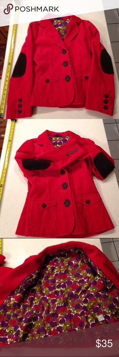 Boden corduroy jacket never worn. Beautiful lined red corduroy jacket with bold buttons. Really really cute! Bright red.  Perfect for Fall! Tag says size 10 but I think it fits like a 6/8. Boden Jackets & Coats Blazers