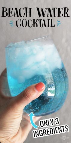 Beach Water Cocktail - Just 3 Ingredients -#cocktail #drink #recipe #summer