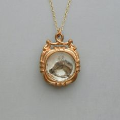 Antique Victorian Horse Fob Necklace. Essex Crystal Intaglio. Hand Painted.