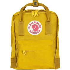 Women's Fjallraven 'Mini Kanken' Water Resistant Backpack (4,170 INR) ❤ liked on Polyvore featuring bags, backpacks, warm yellow, yellow bags, long bags, miniature backpack, daypack bag and knapsack bag