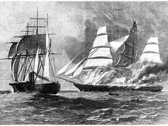 CSS Florida capturing and sinking the clipper Jacob Bell in February 1863 from the U.S. Naval Historical Center Photograph NH59293. Line engraving by G. Perkins from Harper's Weekly, January – June 1863, page 187.  Built in Liverpool, England, the Oreto sailed for Nassau on March 22, 1862. On August 17th, she was commissioned in the Confederate States Navy at Green Cay, Bahamas and officially christened the Florida with Captain John Newland Maffitt, in command.