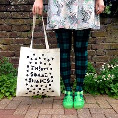 Fun 90s Tote Bag Throw Some Shapes screen printed by helloDODOshop