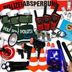 Verleihkiste Polizei: Blaulicht, Handschellen, Polizeihelm, für 4 Tage | Geburtstagsfee.de
