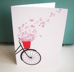 BACK IN STOCK spring hearts and kisses bicycle card!