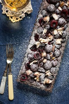 ... cherry and chocolate almond tart ...