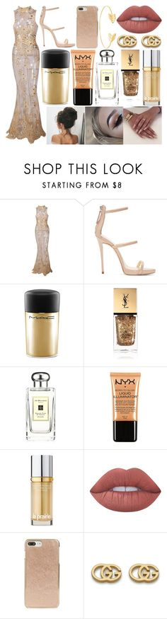 """""""Red Carpet"""" by susanna-trad ❤ liked on Polyvore featuring Giuseppe Zanotti, MAC Cosmetics, Yves Saint Laurent, Jo Malone, Charlotte Russe, La Prairie, Lime Crime, Kate Spade, Gucci and Lord & Taylor"""