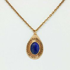 """Lapis Lazuli Necklace"" JEWELRY, METAL 18 mm x 13 mm Genuine Lapis Lazuli Gemstone bezel set in copper on an 18"" copper chain.  Lapis Lazuli is one of the most sought after stones in use since man's history began. Its deep, celestial blue remains the symbol of royalty and honor, gods and power, spirit and vision. It is a universal symbol of wisdom and truth.  In ancient times Lapis Lazuli was most highly regarded because of its beautiful color and the valuable ultramarine dye derived from…"