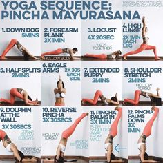 YOGA SEQUENCE: PINCHA MAYURASANA Warm up: SUN A & B x5 1. DOWN DOG You need strong shoulders for pincha & this will def train that 2. FOREARM PLANK Trains your hips & lower back to not collapse, strength makes for lightness, think of a hollow body the whole time & rest between sets 3. LOCUST legs together, dont lift high but extend forward & back from crown of head to toes, this is to train the inner thighs & back muscles 4. HIGH LUNGE To strengthen & stretch the quads. Strength for kick...