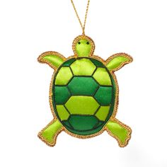 Beaded Evergreen Turtle Ornament