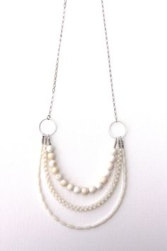 long white gemstone necklace, triple strand, elegant semiprecious stone jewelry