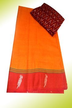 Mercerised cotton saree with ikkat blouse material Price: 925/- (bulk buyers / wholesale / boutiques / Retail shops for trade  inquiries please contact our whatsapp no 8801302000)