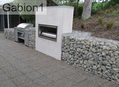 gabion outdoor fireplace and barbeque