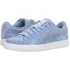 PUMA Basket Denim (Lavendar Lustre/Puma White) Women's Shoes ($70) ❤ liked on Polyvore featuring shoes, denim shoes, denim footwear, white shoes, puma shoes and puma footwear