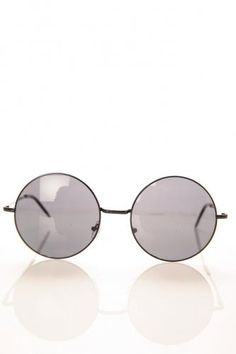 Black Metal Round Sunglasses