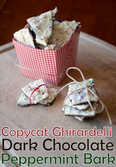 Copycat Ghirardelli Dark Chocolate Peppermint Bark- such an easy treat to make…