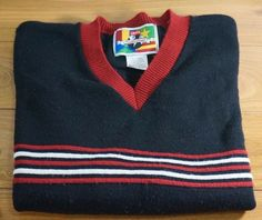 Mens vintage Levis Worlds Finest Striped Knit Sweater - Wool Blend - Medium USA