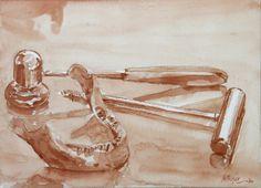 brise os et mandibule. peint avec mon propre sang sur papier aquarelle painted with my own blood on watercolor's paper 26x36 jb©