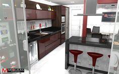 cozinha ilha torre - Galeria de Projetos Promob