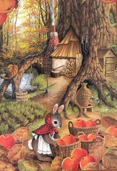 Autumn harvest (Susan Wheeler art) Susan Wheeler, Cute Animal Illustration, Art Et Illustration, Lapin Art, Art Fantaisiste, Art Mignon, Bunny Art, Woodland Creatures, Whimsical Art