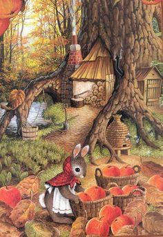 Autumn harvest (Susan Wheeler art) Susan Wheeler, Cute Animal Illustration, Art Et Illustration, Lapin Art, Art Fantaisiste, Art Mignon, Bunny Art, Fairytale Art, Woodland Creatures