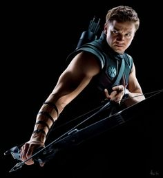 Beautiful, *sighs happily*. Jeremy Renner as Hawkeye.  Katniss Everdeen, eat your heart out. xoxD
