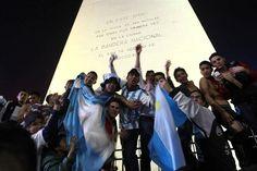 Obelisco, Ciudad de Buenos Aires. Hubo un reconocimiento para la actuación de la selección argentina, pese a la derrotaen final Brasil 2014.